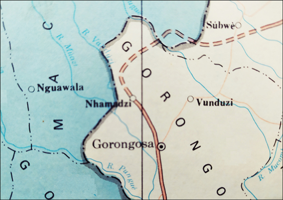 Map of Gorongosa area