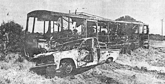 Burned-out bus