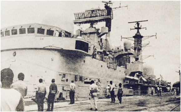 Sheffield class British destroyer at Maputo